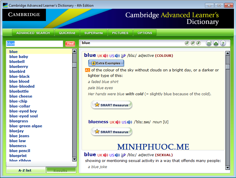 Từ điển Cambridge Advanced Learner's Dictionary